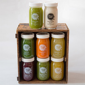Bundle of cold pressed raw juices, hydrator and Nut Milk