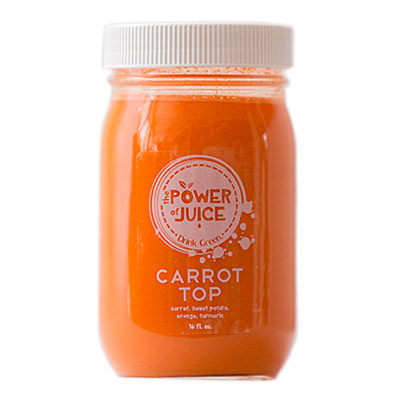 Carrot Top cold pressed raw juice Ingredients: Carrot, sweet potato, orange, turmeric