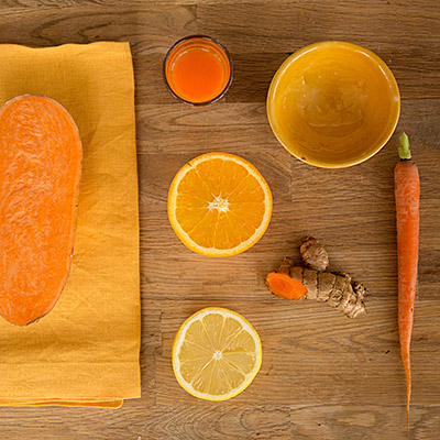 Carrot Top cold pressed raw juice ingredients