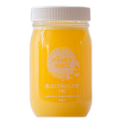 Electro Lite Me Hydrator cold pressed raw juice Ingredients: Coconut water, orange, pineapple, ginger.