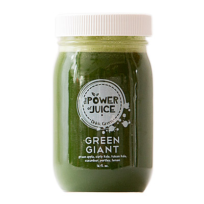 Green Giant cold pressed raw juice Ingredients: Green apple, curly kale, Tuscan kale, cucumber, parsley, lemon
