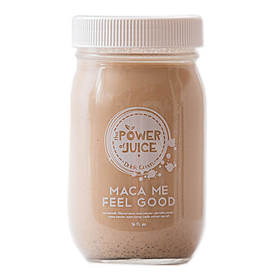 Maca Me Feel Good Milk Ingredients: Raw almonds, filtered water, maca powder, espresso powder, cacao powder, maple syrup, vanilla extract, sea salt.