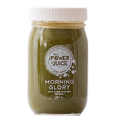 Morning Glory cold pressed raw juice Ingredients: Carrot, orange, green apple, kale, ginger.