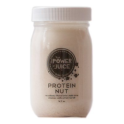 Protein Nut Milk Ingredients: Raw cashews, filtered water, maple syrup, cinnamon, vanilla extract, sea salt.
