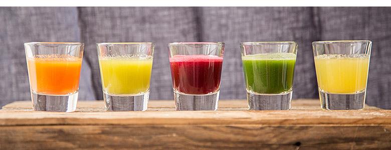 raw juice tasting samples